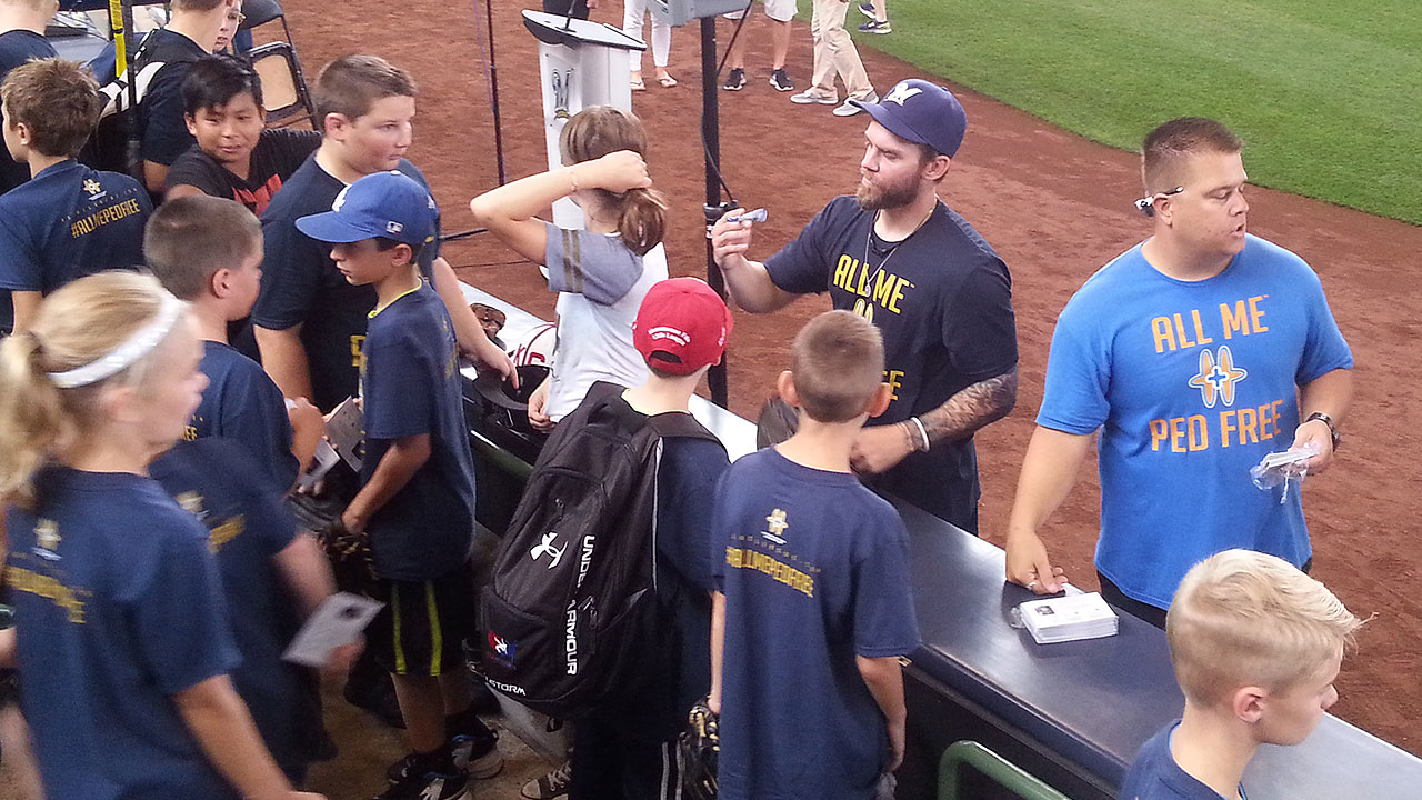 Blazek helps Brewers host youth at PLAY event